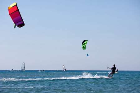Kitesurfers  in sea  Greece