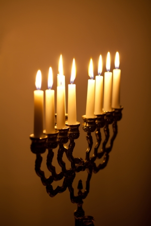 candles on hanukkah menorah photo