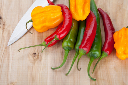 hottest: Hottest peppers on a table