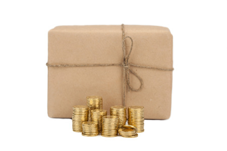 Price of sending parcels. concept coins the near  box package