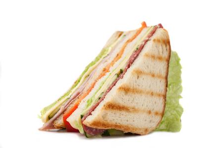 sandwich on a white backgroundbig sandwich with bacon and cheese on a white background