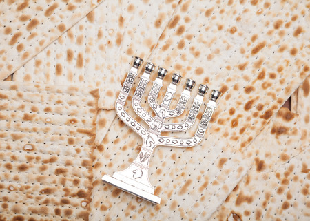 Jewish bread - matza with candlestick - menorah