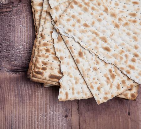 Jewish bread matza on wood