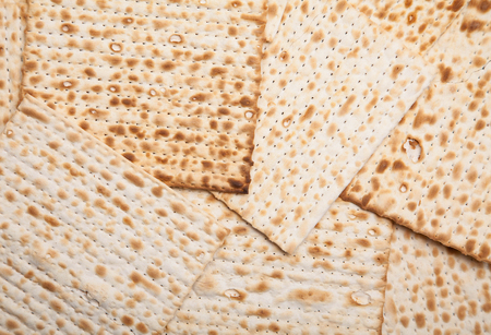 Jewish bread matza as background Stock Photo