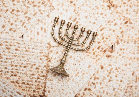Jewish matza with menorah