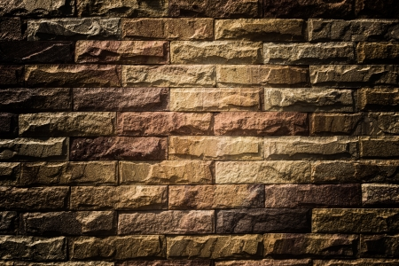 Stone wall at church in temple photo