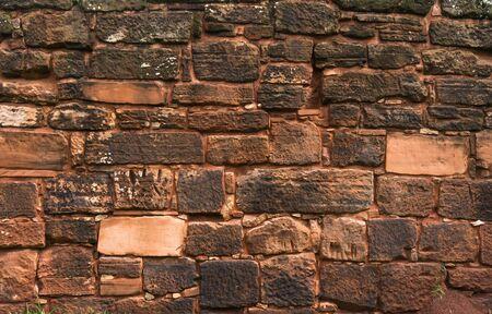 ignacio: Stone texture wall, San Ignacio Jesuites ruins, Misiones, Argentina