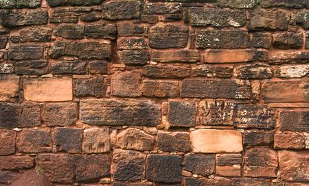 ignacio: Red Stone wall texture San Ignacio ruins rocks Stock Photo