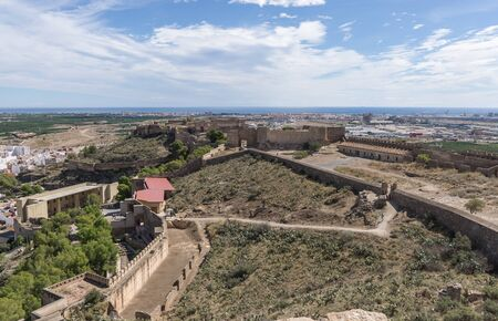 Sagunto Roman fortification castle near Valencia Spain Panoramic view, the old Roman theater restored to the left, in the background the Sagunto port