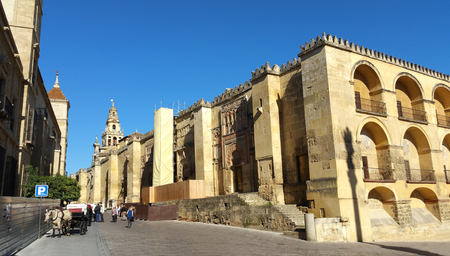 Outside the mosque of Cordoba facade, exterior view of the Mosque, Andalucia, Spain Stock Photo