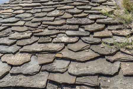 mottling: Slate flagstone ceiling weathered. Old roof with some weeds growing Stock Photo