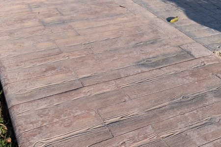 Stamped Concrete Pavement Outdoor Wooden Slats Pattern Flooring Exterior Decorative Texture Of Cement