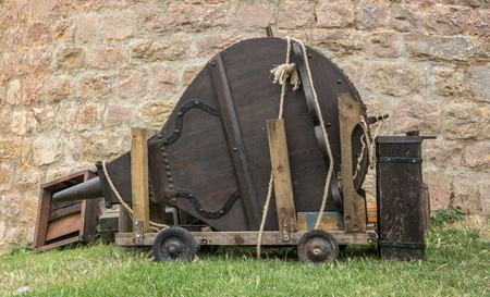 Large traditional forge bellows wood and leather Stock Photo