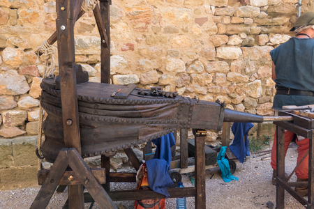 traditional forging bellows made of wood and leather, used in forging work Stock Photo
