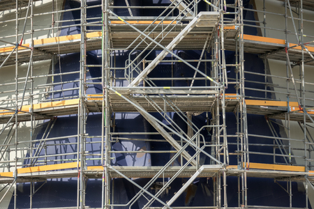 Scaffolding, Working At Building Construction, Structure Of Scaffolding  Stairs To Work Stock Photo