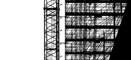 Black silhouette on white background scaffolding and crane at building construction, profile structure of scaffolding, construction, architecture and engineering work.