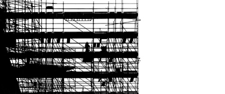 Black silhouette on white background scaffolding at building construction, profile structure of scaffolding, construction, architecture and engineering work.