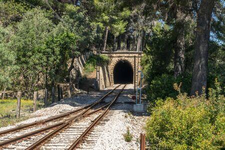 Railway tunnel train railroad crossing, Soller Mallorca Stock Photo