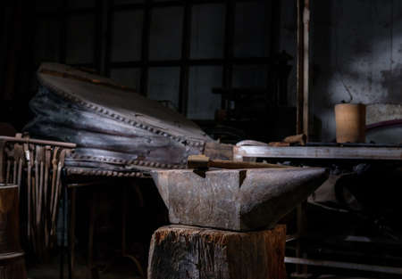 anvil, forging traditional tools, hammer, iron parts to work