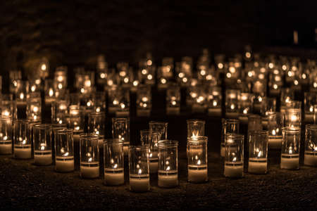 Titaguas village, streets illuminated by candles drawing shapes on the night of the candles celebration local july festival at Valencia Spain