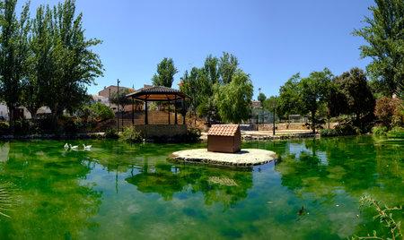 Ayora park main town square with lake, Valencia Spain