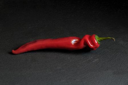 Red pepper, isolated black background food fresh vegetable Standard-Bild