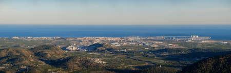 Sagunto town, roman castle fortification, port of mediterranean sea, near Valencia Spain, Panorama view