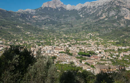 Soller Majorca aerial view from the mountains,