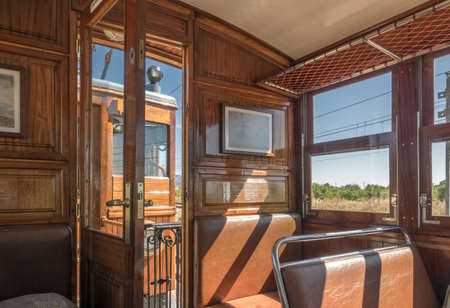 Historic train Tram between Soller and Palma with views over the Soller village