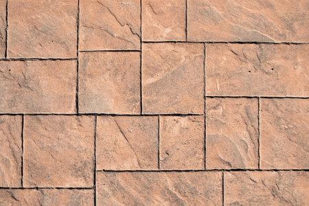stamped concrete pavement, slate stone tile on cement stones pattern Standard-Bild