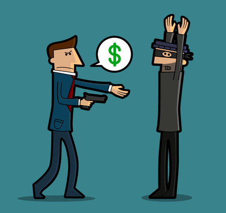injustice: A businessman is robbing a thief holding a gun