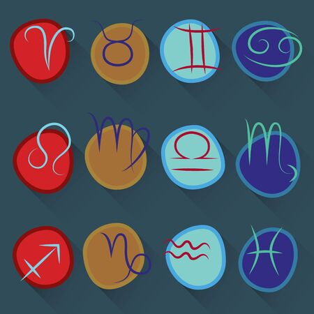 A series of icons of the zodiac signs Vector