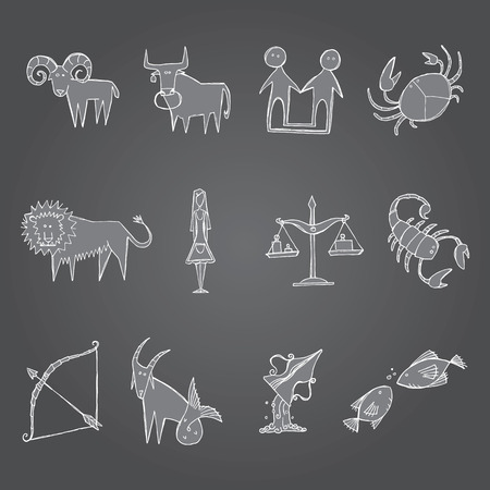 water birth: A series of sketches of the zodiac signs Illustration