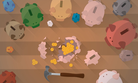 clip art cost: A group of piggy banks looking one of them smashed with a hammer