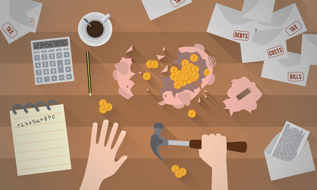 clip art cost: A piggy bank smashed with a hammer Illustration