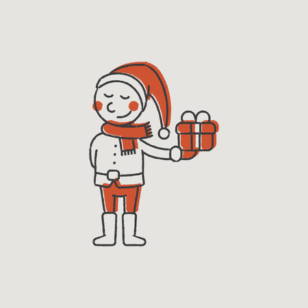 new year s eve: Little Elf Santas Helper Gift Color Illustration