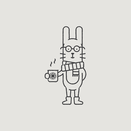 santa s elf: Christmas Rabbit in a Scarf Hand-Drawn Outline