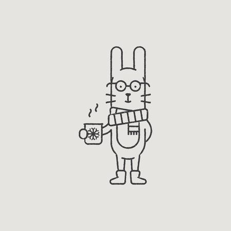 santa s helper: Christmas Rabbit in a Scarf Hand-Drawn Outline
