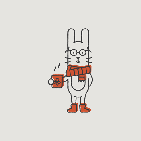 santa s elf: Christmas Rabbit in a Red Scarf Hand-Drawn Color Illustration