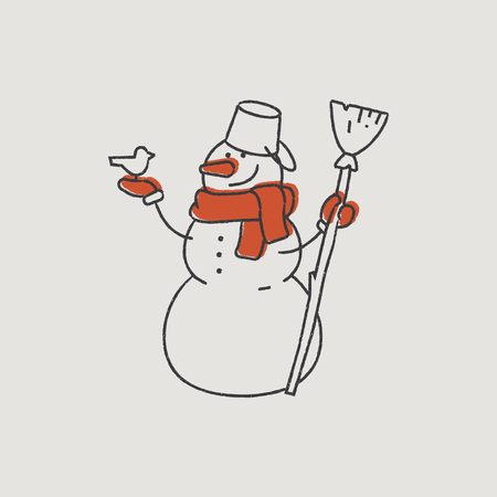 new year s santa claus: Good Snowman in a Red Scarf Hand-Drawn Color Illustration