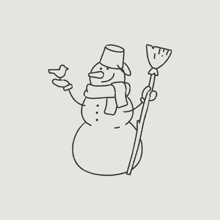 new year s santa claus: Good Snowman in a Scarf Hand-Drawn Outline