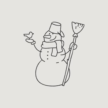 santa s helper: Good Snowman in a Scarf Hand-Drawn Outline