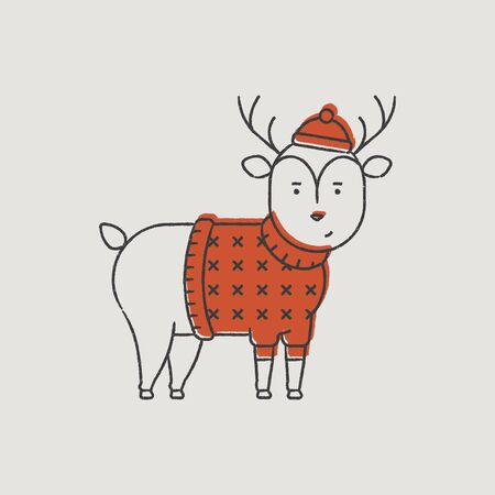 new year s santa claus: Christmas Deer Rudolph in a Red Hat Hand-Drawn Color Illustration