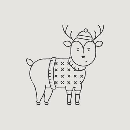 santa s helper: Christmas Deer Rudolph in a Hat Hand-Drawn Outline