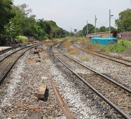 crossroad: cruce ferroviario en Tailandia Foto de archivo