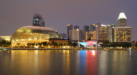 spikey: SINGAPORE - APRIL 10, 2016: Esplanade - Theatres on the Bay is a performance and art center located in Marina Bay. It is nicknamed the Durian by the Singaporeans because of its spikey appearance.