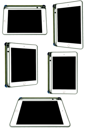 Set Mini tablet computer with pen and case on white background