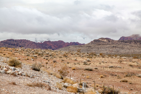 View of national park the red rock canyon in Foggy day at nevada,USA. 版權商用圖片