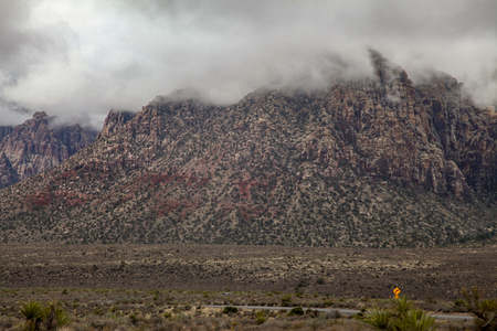 View of red rock canyon national park in Foggy day at nevada,USA.
