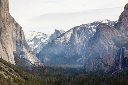 View of nature landscape at Yosemite National Park in the winter,USA. Stock Photo